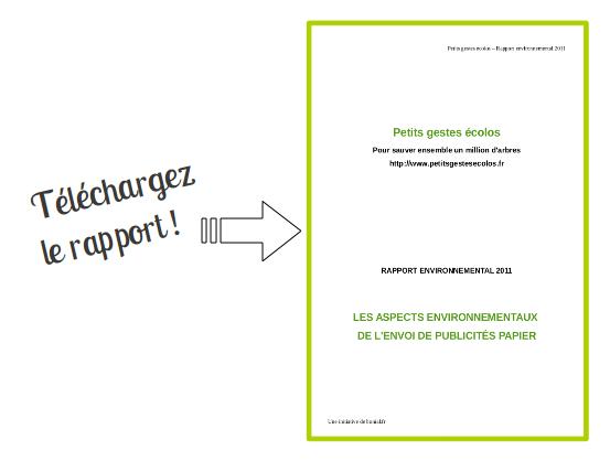 Rapport environnemental 2011 - Petits gestes écolos